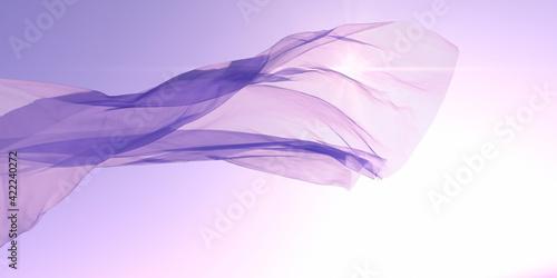 Foto 光を受けて風にはためく布 / 爽やかな光と風のアブストラクト / 背景・コンセプトイメージ / 3Dレンダリンググラフィックス