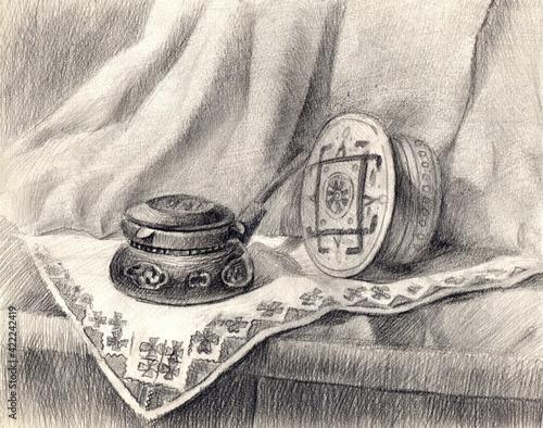 Fototapeta Still life illustration made in pencil on paper