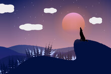 The Wolf Howls On The Full Moon Night On The Mountain In The Forest.