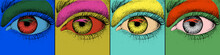 Eye Design. Pop Art With Colorful Images Of Eye. Vector Illustration