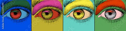 Eye design. Pop art with colorful images of eye. Vector Illustration
