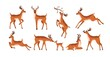 Set of cute deer isolated on white background. Adorable spotted bambis lying, running, jumping, eating and walking. Christmas reindeer. Forest horny animals. Colored flat vector illustration
