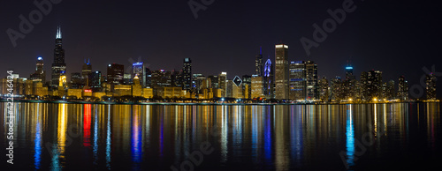 Fotografia, Obraz City of Chicago Illinois Night Skyline Panoramic Photo