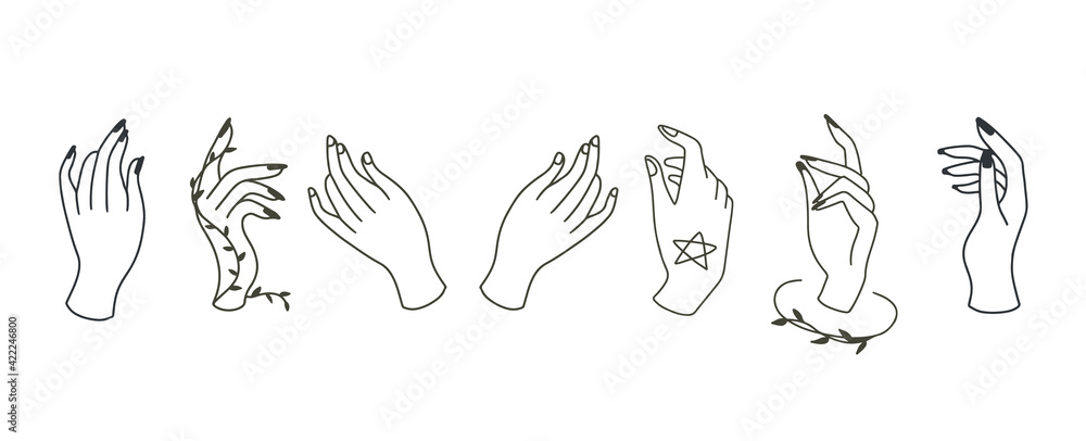 Fototapeta Beauty boho collection with hand.Vector illustration for icon,sticker,printable and tattoo