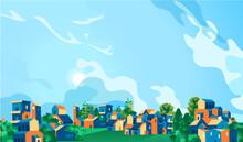 Paesaggio Di Una Città Con Case, Alberi E Cielo Azzurro
