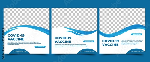 Fototapeta Set of Covid-19 vaccine Social media post template. White background with abstract blue shape. Usable for announcement and promotion in social media, flyers, and web internet. obraz