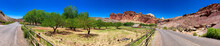 Road To Gifford House Inside The Capitol Reef National Park, Utah - Panoramic View