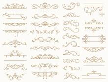 Vintage Borders, Decorative Lines, Dividers, Swirls. Vector Design Elements.