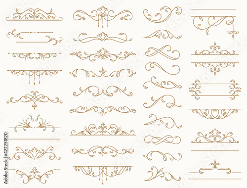 Canvas Vintage borders, decorative lines, dividers, swirls