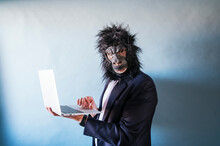 Man With Gorilla Mask Using Laptop