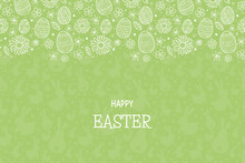 Happy Easter. Concept Of Card With Eggs And Flowers. Vector