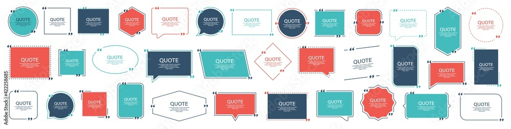 Fototapeta Quote box frame, big set. Texting quote boxes. Blank template quote text info design boxes quotation bubble blog quotes symbols. Creative vector banner illustration. Vector brushes background.