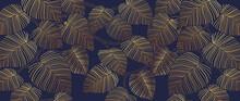 Tropical Leaf Wallpaper, Luxury Nature Leaves Pattern Design, Golden Banana Leaf Line Arts, Hand Drawn Outline Design For Fabric , Print, Cover, Banner And Invitation, Vector Illustration.