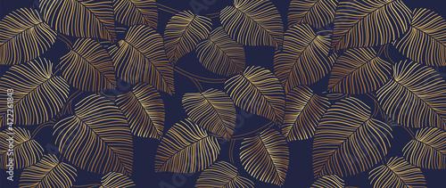 Fotografie, Obraz Tropical leaf Wallpaper, Luxury nature leaves pattern design, Golden banana leaf line arts, Hand drawn outline design for fabric , print, cover, banner and invitation, Vector illustration