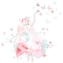 Fashion Vector Illustration With Ballerina Dancer In Pink Rose Dress And Butterflies