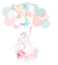 Fashion Vector Illustration With Beautiful Girl In Rose Dress Holding Balloons