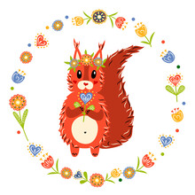 A Squirrel With A Wreath Of Flowers On Its Head. Hello Spring. Vector Illustration.