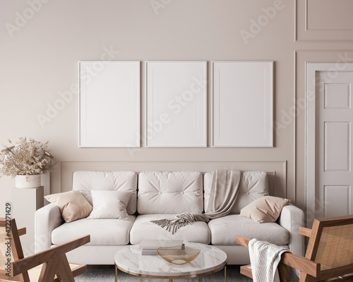 Living room interior with frame mock up, natural wooden furniture and trendy home accessories on bright beige background, 3d render