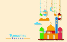 Ramadan Theme Design: Background With Mosque Images With A Combination Of Colors, Blue, Yellow, Red And Green