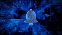 Alert Technology Concept With Bell Symbol Against A Futuristic, Blue Digital Grid Background. Network Tech Wallpaper. 3D Render