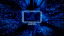 Display Technology Concept With Monitor Symbol Against A Futuristic, Blue Digital Grid Background. Network Tech Wallpaper. 3D Render