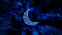 Night Mode Technology Concept With Moon Symbol Against A Futuristic, Blue Digital Grid Background. Network Tech Wallpaper. 3D Render