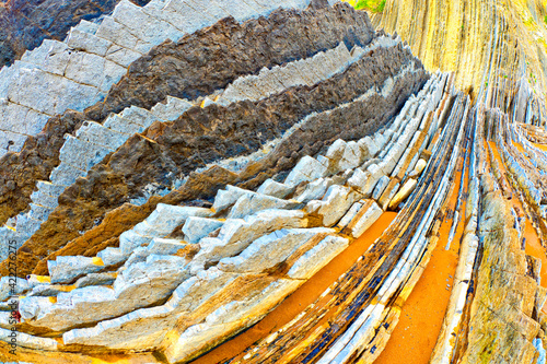 Steeply-tilted Layers of Flysch, Flysch Cliffs, Basque Coast UNESCO Global Geopark, European Geopark Network, Zumaia, Guipúzcoa, Basque Country, Spain, Europe
