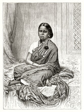 Portrait Of A Malabar Girl Dressed With A Long Indian Tunic And Seated On Bed In A Room. Ancient Grey Tone Etching Style Art By Mettais, Le Tour Du Monde, 1862