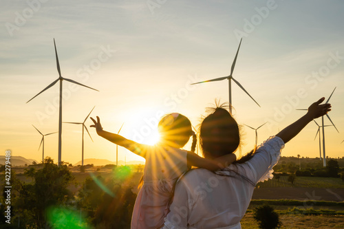 Fotografia Wind turbines are alternative electricity sources, the concept of sustainable re