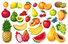 Berries And Fruits Vector Illustration In Cartoon Style. Pitaya, Pomegranate, Raspberries, Strawberries, Grapes, Currants And Blueberries. Lemon, Peach, Apple, Orange Watermelon Avocado And Melon Set