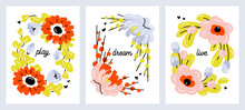 Set Of Cute Hand Drawn Flowers. Modern Collage Of Pastel Blossoming Plants For Pre-made Poster Print Or Greeting Card. Naive Style Vector Illustration With Abstract Floral Design. Editable Stroke
