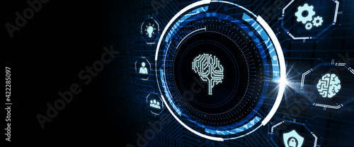 Fototapeta Artificial intelligence (AI), machine learning and modern computer technologies concepts. Business, Technology, Internet and network concept. obraz