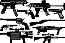 Gun SVG Cut Files | Revolver Silhouette | Shooting Pistol Bundle