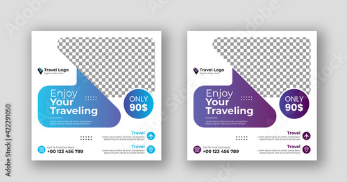 Obraz Business social media post square travel banner template - fototapety do salonu