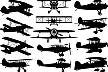 Biplane SVG Cut Files   Old Vintage Plane Svg   Plane Silhouette Bundle
