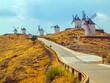 Vista de seis molinos de viento ubicados en lo alto de varias colinas de la región española de Castilla-La Mancha con la carretera de acceso a los mismos en primer término