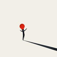 Business Creativity, Vector Concept. Symbol Of Brainstorming, Creative Ideas, Thinking. Minimal Illustration.