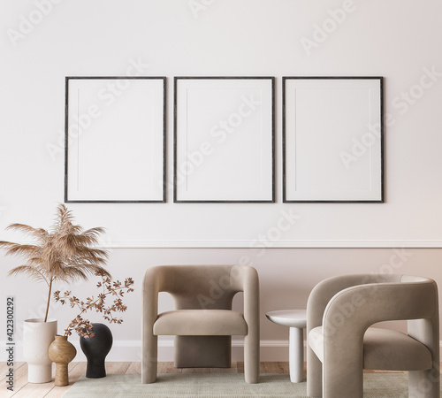 Fototapeta White modern living room, minimal home design with frame mockup on empty bright background, 3d render	 obraz