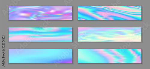 Fototapeta Neon holo modern flyer horizontal fluid gradient mermaid backgrounds vector collection. Pearlecent obraz