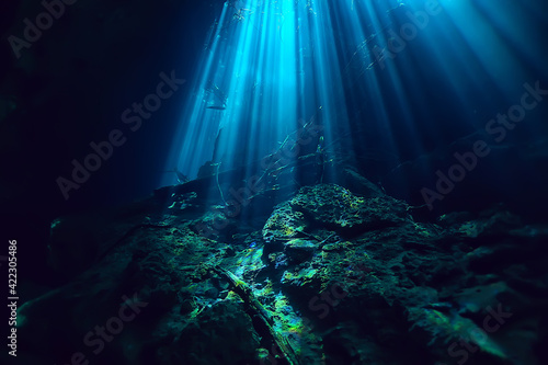 Fototapeta underwater landscape mexico, cenotes diving rays of light under water, cave diving background obraz