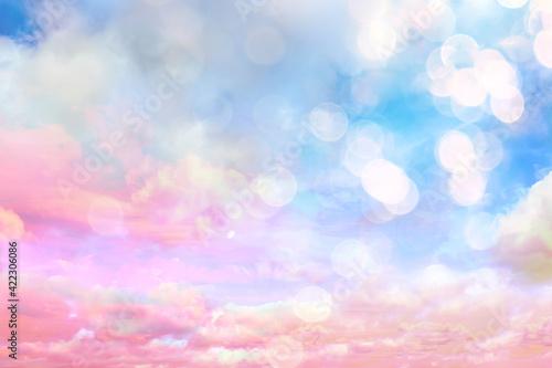 Fototapeta clouds watercolor tint, pink clouds gradient background sky, atmosphere air freedom obraz