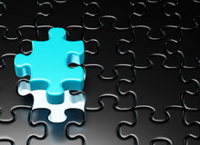 Unfinished Black Jigsaw Puzzle Pieces And The Last Piece Of Blue Color. Autism Awareness Symbol. 3d Render