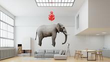 Elefant Schwebt An Luftballons Im Loft In Leichtigkeit