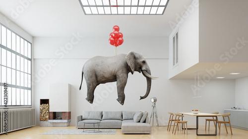 Obraz Elefant schwebt an Luftballons im Loft in Leichtigkeit - fototapety do salonu