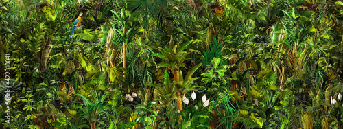 Seamless tropical nature botanical landscape, palm tree, flowers, exotic plants, palm leaves, floral seamless pattern border print, green texture 3d background. Jungle paradise scene graphic wallpaper