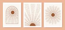 Triptych Boho Sun, Minimalist Mid Century Modern Art