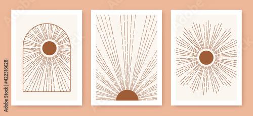 Fotografie, Obraz Triptych boho sun, minimalist mid century modern art