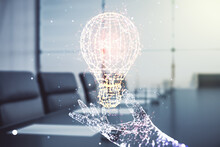 Double Exposure Of Creative Light Bulb Hologram On A Modern Meeting Room Background, Research And Development Concept