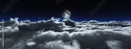 Stampa su Tela Night cloudy landscape, the moon above the clouds, the rising of the moon among