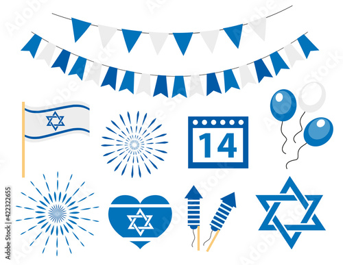 Happy israel independence day icons set Fototapet